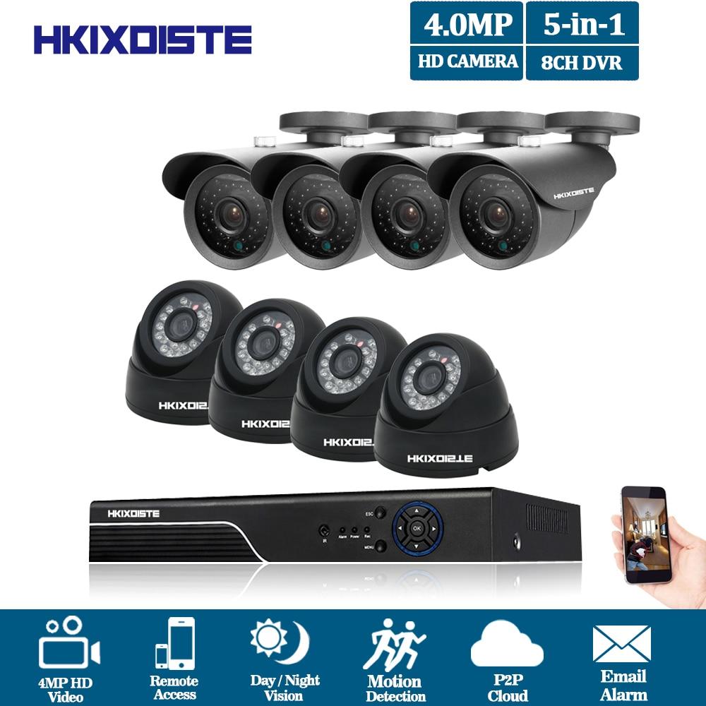 HKIXDISTE 4mp TELECAMERE A CIRCUITO CHIUSO di Sorveglianza Kit Sistema di Telecamere di Sicurezza 8ch DVR 4MP 4mp 2 k Uscita Video Kit CCTV Remoto Facile vista sul Telefono