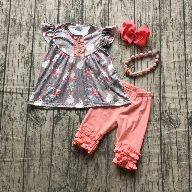 1e3c2fd6e11c summer spring Easter theme coral grey bunny floral top flower ruffles Capri  baby girls boutique Capri set with accessories kids