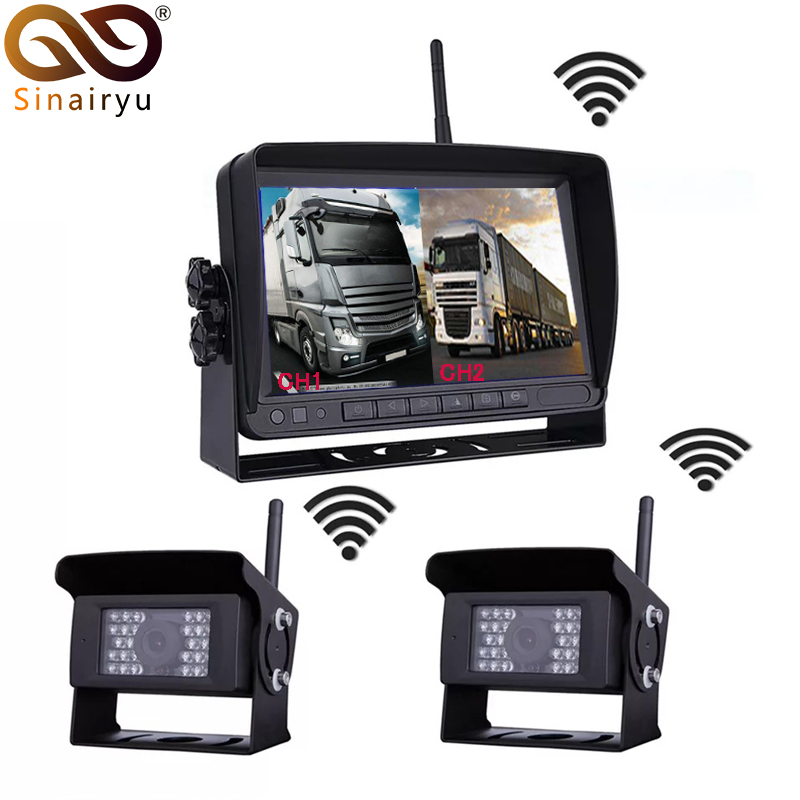 Digital Wireless 2 Channel Parking Monitor Camera Kit For Truck Trailer Bus RV Trailer CCTV Video