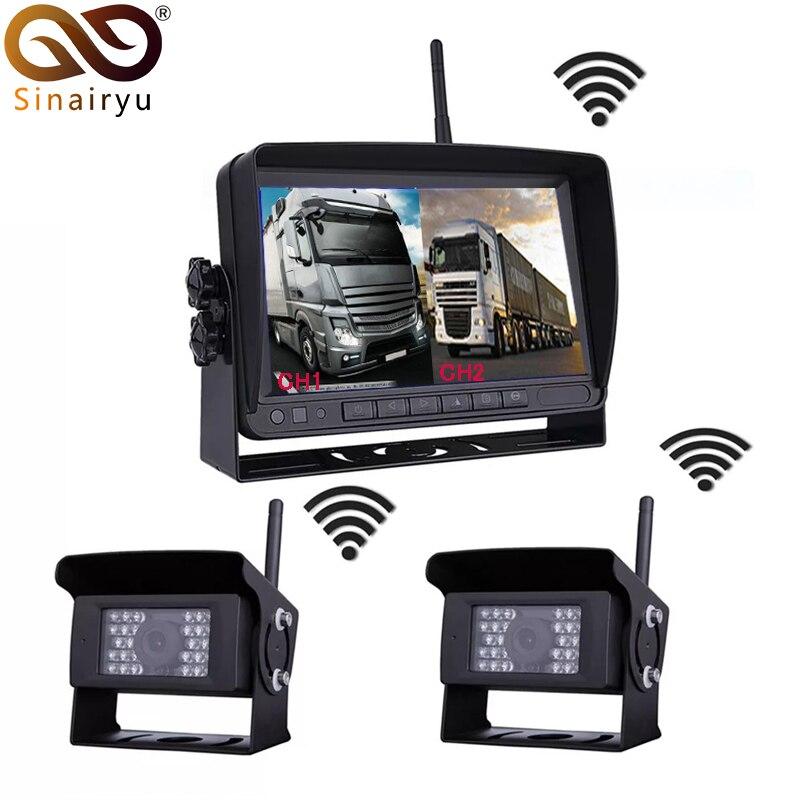 Цифровой Беспроводной 2 канала Парковка монитор Камера комплект для грузовик с прицепом/автобус/RV/Трейлер CCTV видео заднего вида Wi Fi цифрова