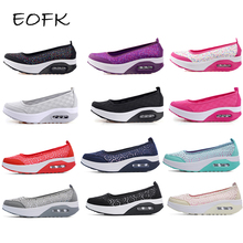 EOFK Summer Women Flat Platform Shoes Woman Casual Air Mesh Breathable Shoes Slip On Gray Fabric Shoes zapatos mujer