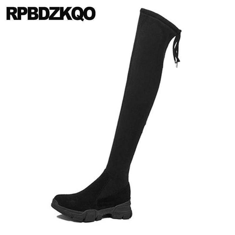 Sur Noir khaki Bout Mouton Talon Bottes Stretch Mince Wedge Rond Genou Femmes Chaussures En Le De Perle 2018 Daim Haute Véritable Cuir Noir Cuisse Peau DI2EWH9
