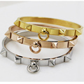 (1pcs) Titanium steel Selling brand woman size  fashion skinny rivet of nails Circle buttoned golden rose gold love bracelet