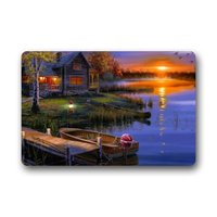 Particular Discount Art Evening Lake Boat Lodge Lamp Light Door Mat Washable Doormat Mat 23.6