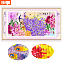 UzeQu Special Shaped Diamond Embroidery 5D DIY Diamond Painting Cross Stitch Peacock Peony Flower Full