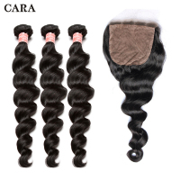 Silk Base Closure With Bundles 3 Loose Wave Bundles Brazilian Virgin Human Hair CARA Silk Base Closure Natural Hair Extensions