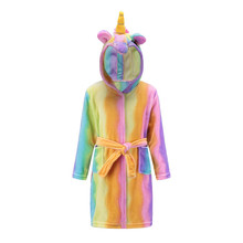 Купить с кэшбэком Cute Baby Bathrobes for Girls Pajamas Kids Rainbow Unicorn Pattern Hooded Beach Towel Boys Bath Robe Sleepwear Children Clothing