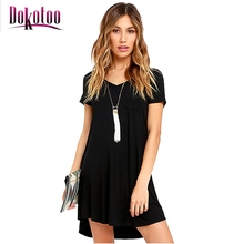 Dokotoo Black Trendy Sweetheart Neck Pocket Shirt Dress LC22985 2017 sexy women summer party club dress vestido de festa on sale