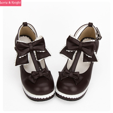 Japanese Sweet Lolita Shoes Brown Leather High Heel Platform Princess Pumps with Bows and White Lace