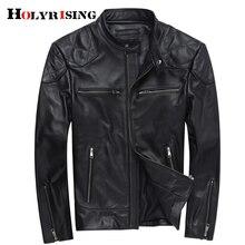 Мужская кожаная мотоциклетная куртка из яловой кожи Slim-fit воротник мужские Куртки из натуральной кожи Повседневная куртка S-3XL Размер 18660