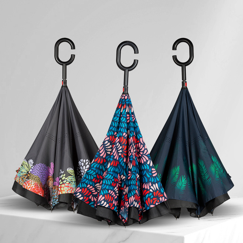 Windproof Reverse Folding Double Layer Inverted Sunny Umbrella Self Stand Rain Protection C-Hook Hands UmbrellasWindproof Reverse Folding Double Layer Inverted Sunny Umbrella Self Stand Rain Protection C-Hook Hands Umbrellas
