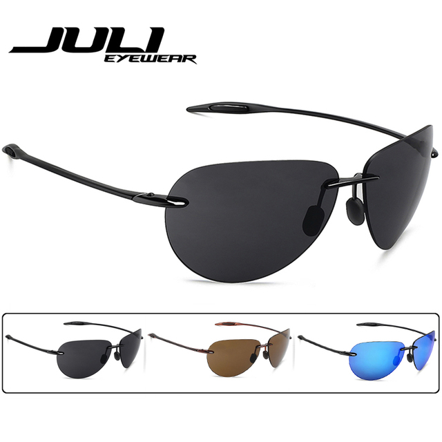 JULI Classic Sports Sunglasses Men Women Male Driving Golf Pilot Rimless Ultralight Frame Sun Glasses UV400 Gafas De Sol MJ8008