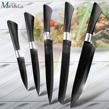 Kitchen Knife Paring Utility Santoku Chef Slicing Bread Stainless Steel Knives Black Blade Accessories Set Cooking Tools