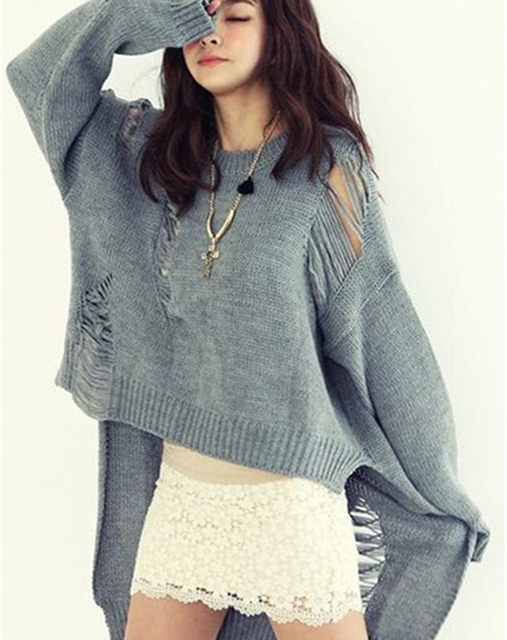 [XITAO] Korea autumn personality before long after short hole hollow out sweater casual female loose irregular O-Neck LW002