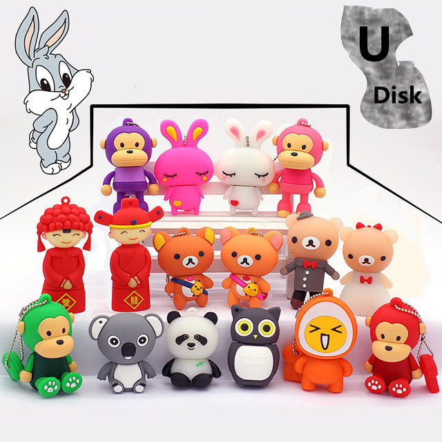 2017 New Cute Mini Cartoon & Couple Usb Memory Stick Storage U Disk Pen Drive 32GB USB 2.0  Flash  Usb Drive Gifts