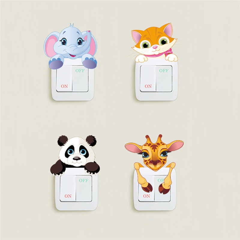 Cute Animals Elephant Cat Panda Giraffe Light Switch Sticker Remoable Wall Sticker For
