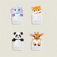 Милые животные, слон, кошка, панда, жираф, выключатель света, стикеры, съемная Наклейка на стену для детей, детская комната, домашний декор