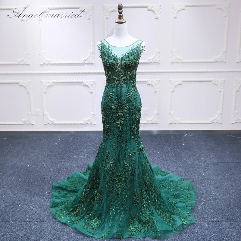 Angel married luxury evening dresses V Neck mermaid Prom Dress Long appliques lace beaded women pageant gown vestido de festa