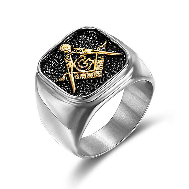 UJBOX Dropshipping US Size 7 to 15 Masonic Rings Stainless Steel