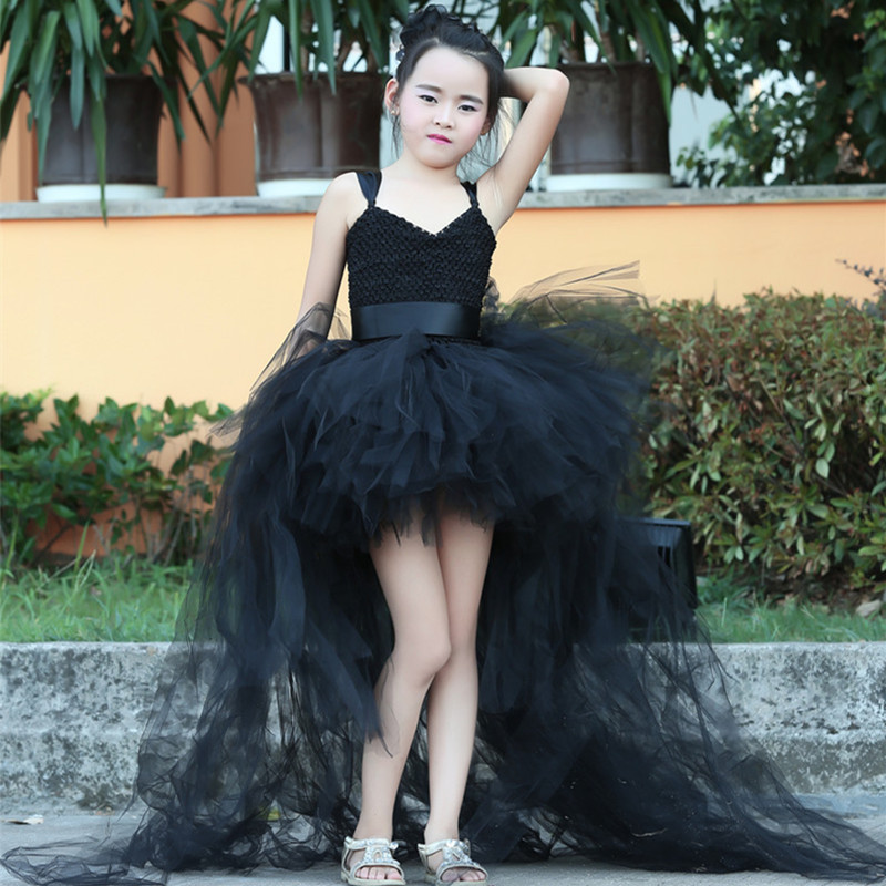 Black Girls Tutu Dress With Train Tulle Girl Ball Gown Dress Children Flower Girl Party Dress Gorgeous Kids Halloween Costumes