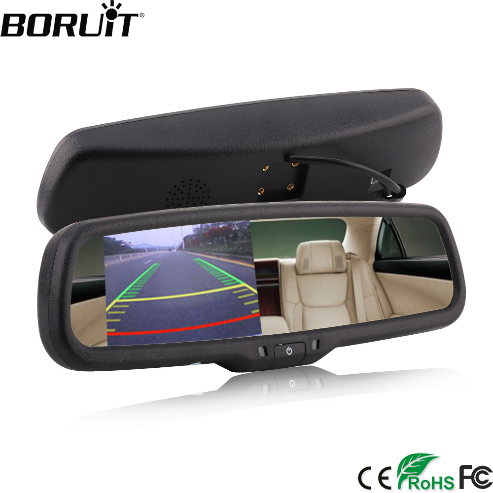 BORUiT 4.3 Inch TFT HD LCD Car Rear View Bracket Mirror Monitor Night Vision Auto Parking Assistance Reversing Rear View Camera