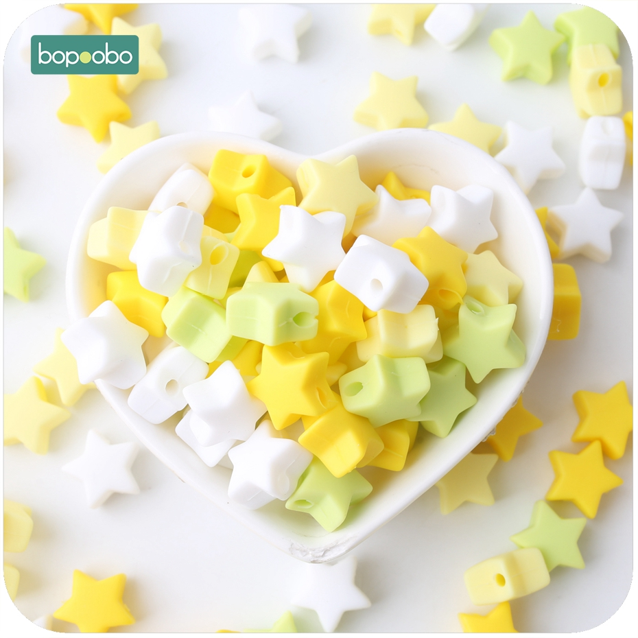 Bopoobo Silicone Beads Star Shape 30pcs 14mm Food Grade Teether Colorful Star Set Beads Bracelet Diy Jewelry Baby Teether