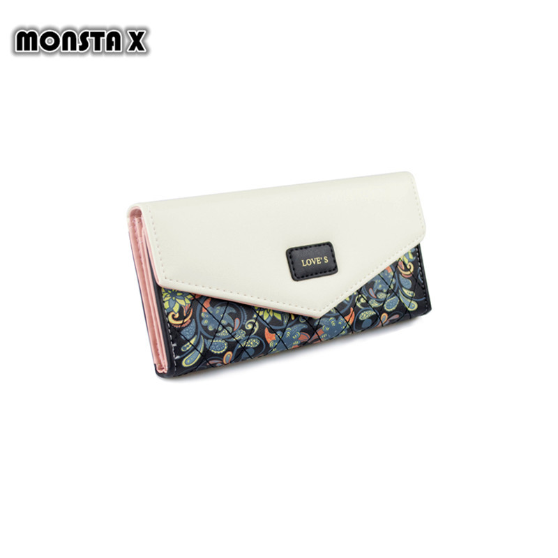 MONSTA X Famous Brand Designer Luxury Long Walet Women Wallets Female Bag Ladies Money Coin Women Purse Carteras Cuzdan long designer women wallets new female hollow out wallet money bag lady card coin purse carteras cuzdan bolsa feminina
