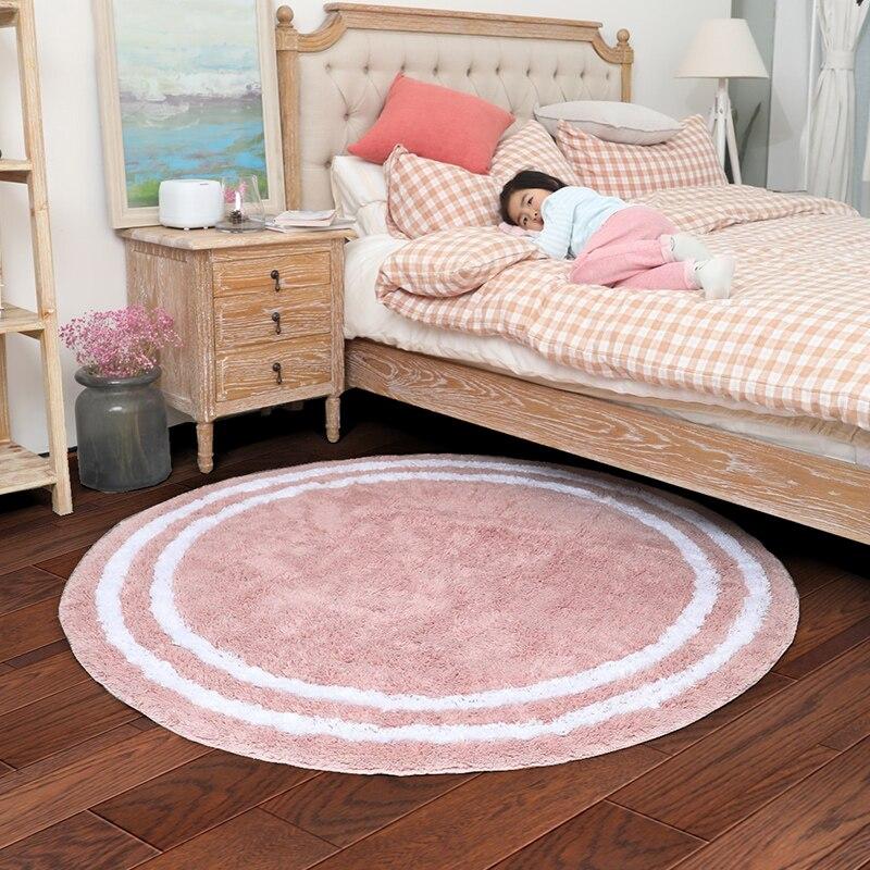 Doux coton tapis rond maison salon Table basse Simple nordique ordinateur chaise tapis de sol tapis maison décorateur tapis de sol