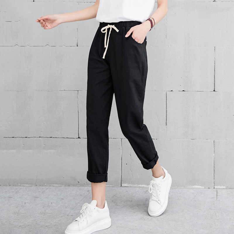 2c279bb3fafee New Women Casual Harajuku Spring Autumn Big Size Long Trousers Solid  Elastic Waist Cotton Linen Pants