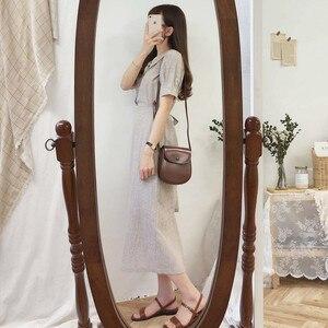 Image 5 - Đầm Vintage Hot Bán Hàng Người Phụ Nữ Mùa Hè Dễ Thương Ngọt Nhật Bản Hàn Quốc Cách học Peter Pan có Cổ Áo Sơ Mi Nút Áo Retro 6918