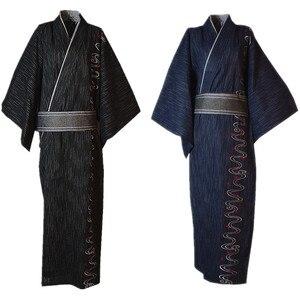 3 sztuk/zestaw Kimono garnitur tradycyjne japońskie męskie Kimono z Obi pas męska bawełniana szlafrok Yukata męska Kimono bielizna nocna 022804