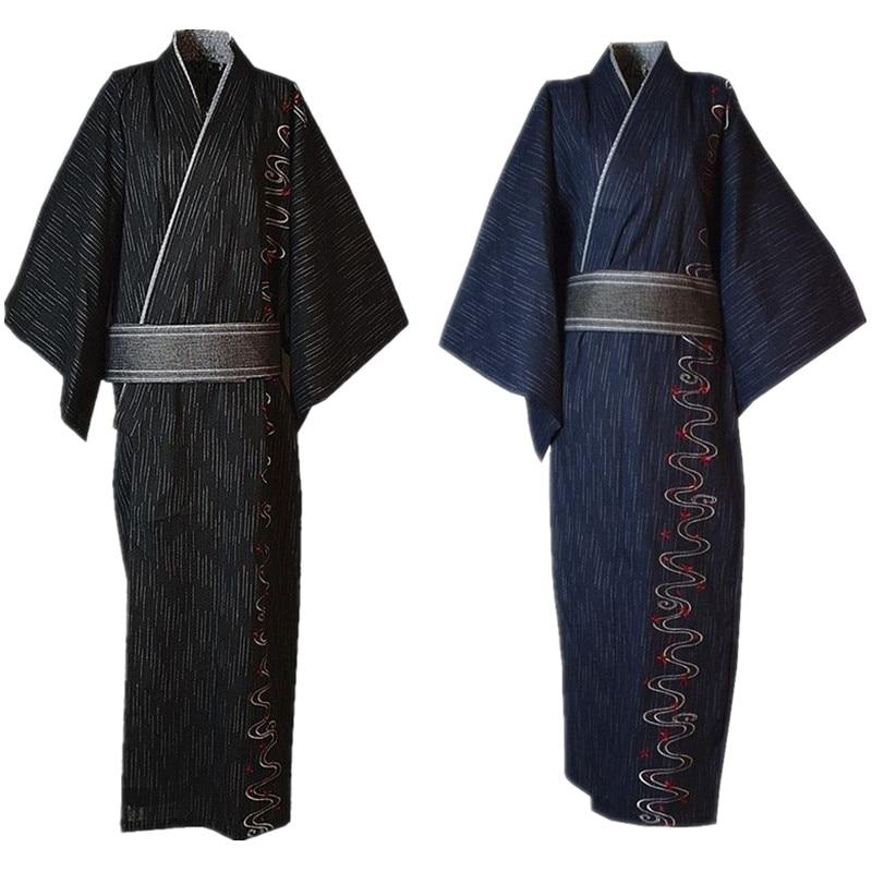 3pc/set  Kimono Suit Traditional Japanese Male Kimono With Obi Belt Men's Cotton Bath Robe Yukata Men's Kimono Sleepwear 022804