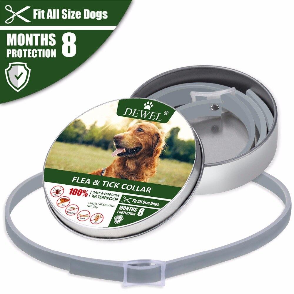 Dewel Hund Kragen Anti Floh Mücken Zecken Insekt Wasserdicht Pflanzliche Haustier Kragen 8 Monate Schutz Hund Zubehör