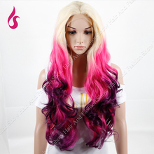 Queen Style Omber Wigs Plonde – Pink – Fuchsia Mixed Natural Wave Heat Resistant Synthetic Lace Front Wigs !