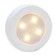 Round 4LED Push Tap Night Light Battery Operated For Closet Cabinet Storage Shed Hallway Stair Shelf Car Stick On Night Lamp