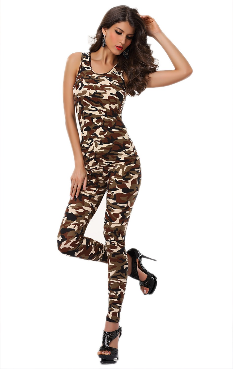 Fashion Ladies <font><b>Sexy</b></font> Print Animal <font><b>Army</b></font> Tight Bodysuit Catsuit Jumpsuit Clubwear <font><b>Cosplay</b></font> Fancy Pant 3S1761 image