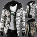 Más el Tamaño 2XL Hombres Chaqueta de Invierno 2016 Moda Casual Con Cremallera Rompevientos Warm Coat Hombres Veste Homme Chaqueta de Camuflaje Del Ejército Militar
