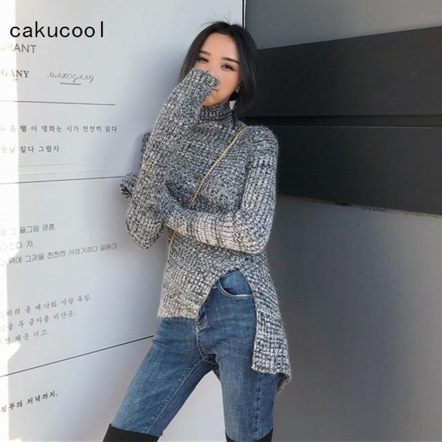 c8d6ba832e Cakucool New Cinza Mulheres Camisola de Gola Alta Manga Comprida Asymmetric  Projeto Jumpers Magro Fenda Coreano Malha Puxe Hiver Femme