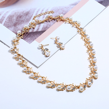 цена на Bohopan 2019 Personalized Jewelry Set For Women Shine Pearl Rhinestone Earrings And Necklace Female Elegant Bohemia Accessories