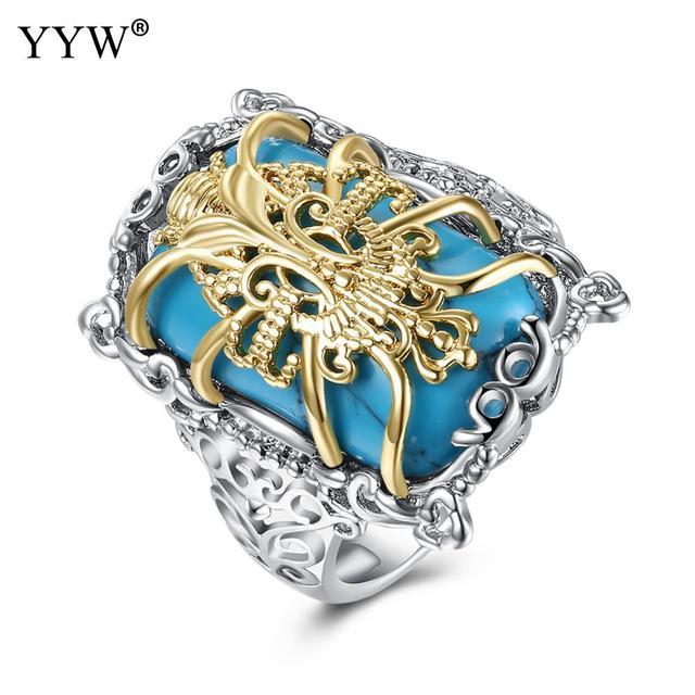 Yyw Elegant Rhinstone Love Ring For Women Abstract Silver Br Tibetan Wedding Rings Birthday