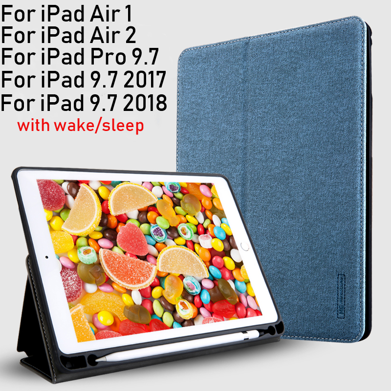 PU+TPU Soft Case Cover For iPad 9.7 2017 / 2018 Pro 9.7 Air1 Air2 Tablets Sleeve with Card slots Pencil Groove Wake/Sleep+Gifts dulisimai stylish flip open pu tpu case w stand card slots strap for lg g3 black brown