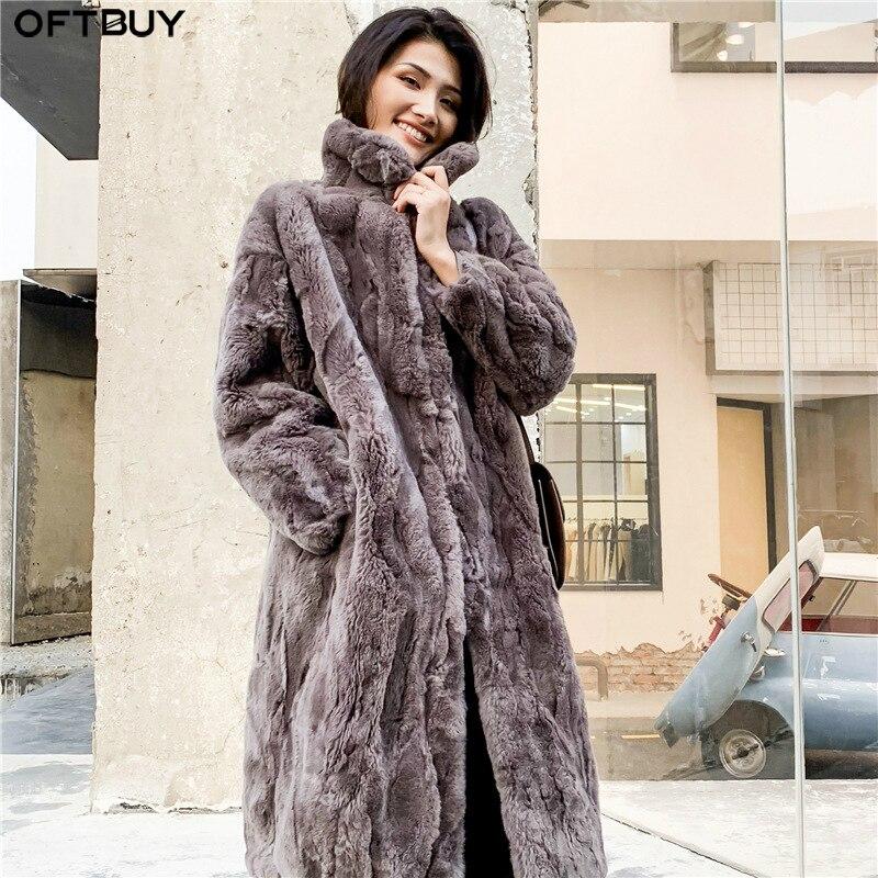 OFTBUY 2019 Real Fur Coat Winter Jacket Women Natural Rex Rabbit Fur Long Overcoat Stand Collar Streetwear Thick Warm Outerwear