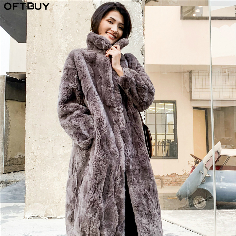 OFTBUY 2019 пальто с натуральным мехом, зимняя куртка для женщин, натуральный мех кролика Рекс, длинное пальто с воротником стойкой, уличная одежда, толстая теплая верхняя одежда
