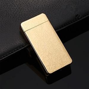 Image 5 - De Plasma USB Dual de arco, metálico encendedor recargable a prueba de viento mechero electrónico cigarrillo arco de doble pulso Cruz trueno Ligthers