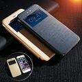 Kisscase cajas del teléfono ventana de visualización de cuero case para iphone 7 plus 6 6 s plus cubierta del tirón para samsung s7 s6 edge plus note 5 4
