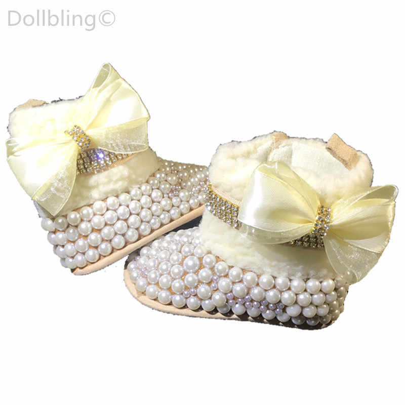 Designed Fashion Chic pearls Rhinestones baby flower girl booties custom  sparkle cup chain bow match magic 423748626461