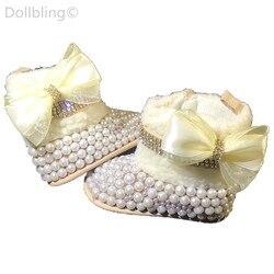 Entwickelt Mode Chic perlen Strass baby blume mädchen booties benutzerdefinierte sparkle tasse kette bogen spiel magie kindheit andenken