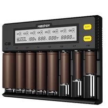 C8 สมาร์ทแบตเตอรี่ 8 slot จอแสดงผล LCD สำหรับ lithium ion LiFePO4 Ni Mh นิกเกิลแคดเมียม AA 21700 20700 26650 18650 charger