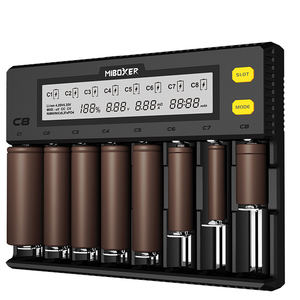 Image 1 - C8 Smart battery charger 8 slot LCD display for lithium ion LiFePO4 Ni MH nickel cadmium AA 21700 20700 26650 18650 charger