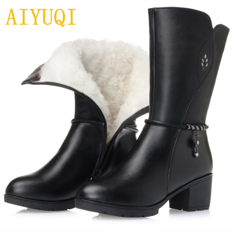 AIYUQI winter boots women . Womens Fashion Genuine Leather Round Toe Outwear Shoes. Warm Plush Wool Winter Snow Boots
